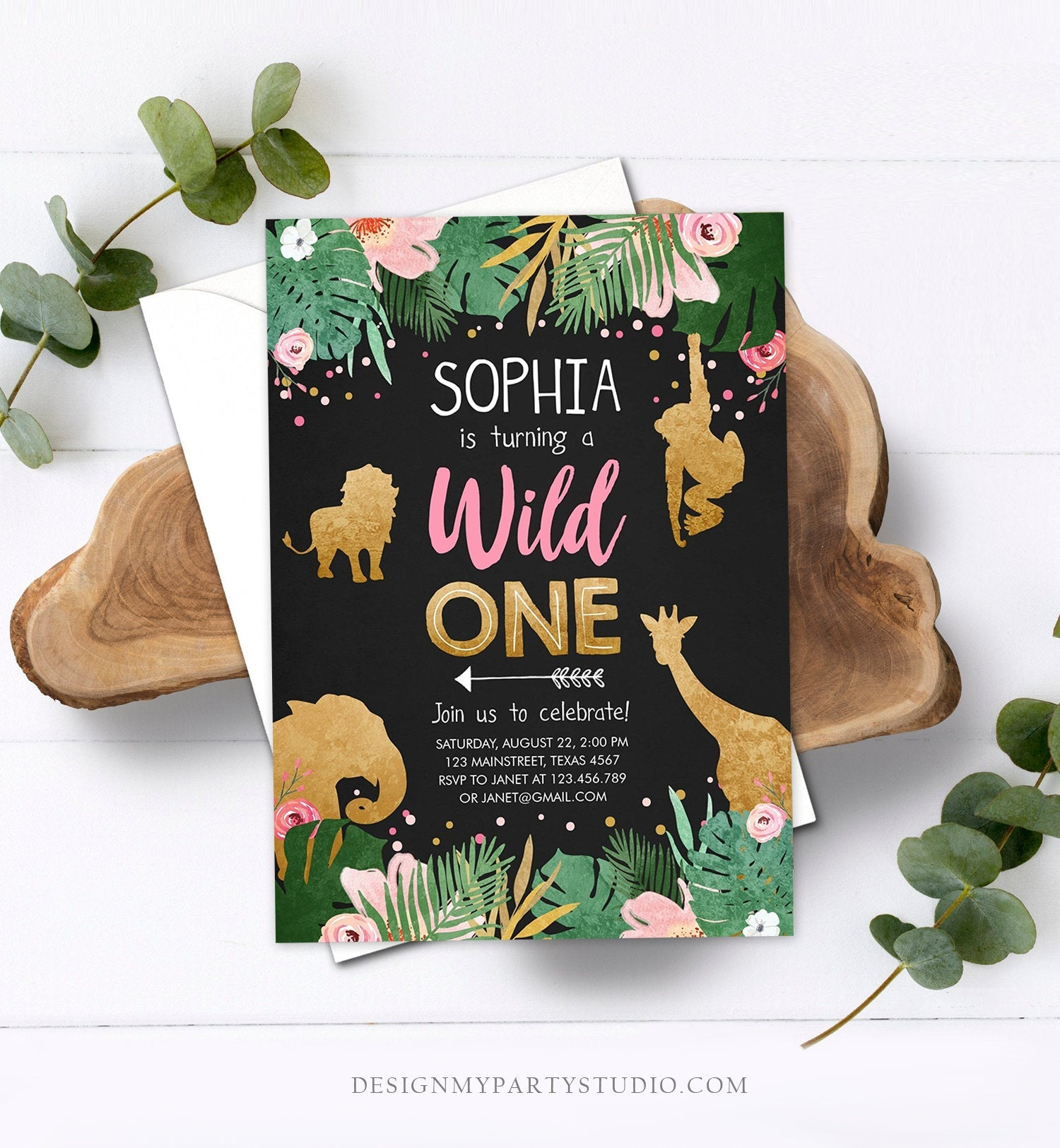 Editable Wild One Birthday Invitation Girl Safari Animals Jungle Zoo Party Animals Pink Gold Instant Download Printable Corjl Template 0016