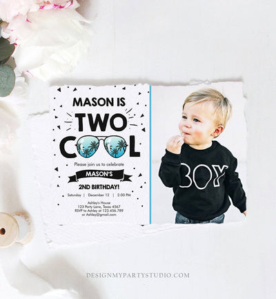 Editable Two Cool Birthday Invitation Boy Second Birthday Party 2nd I'm this Many I'm Two Cool Sunglasses Palm Printable Corjl Template 0136