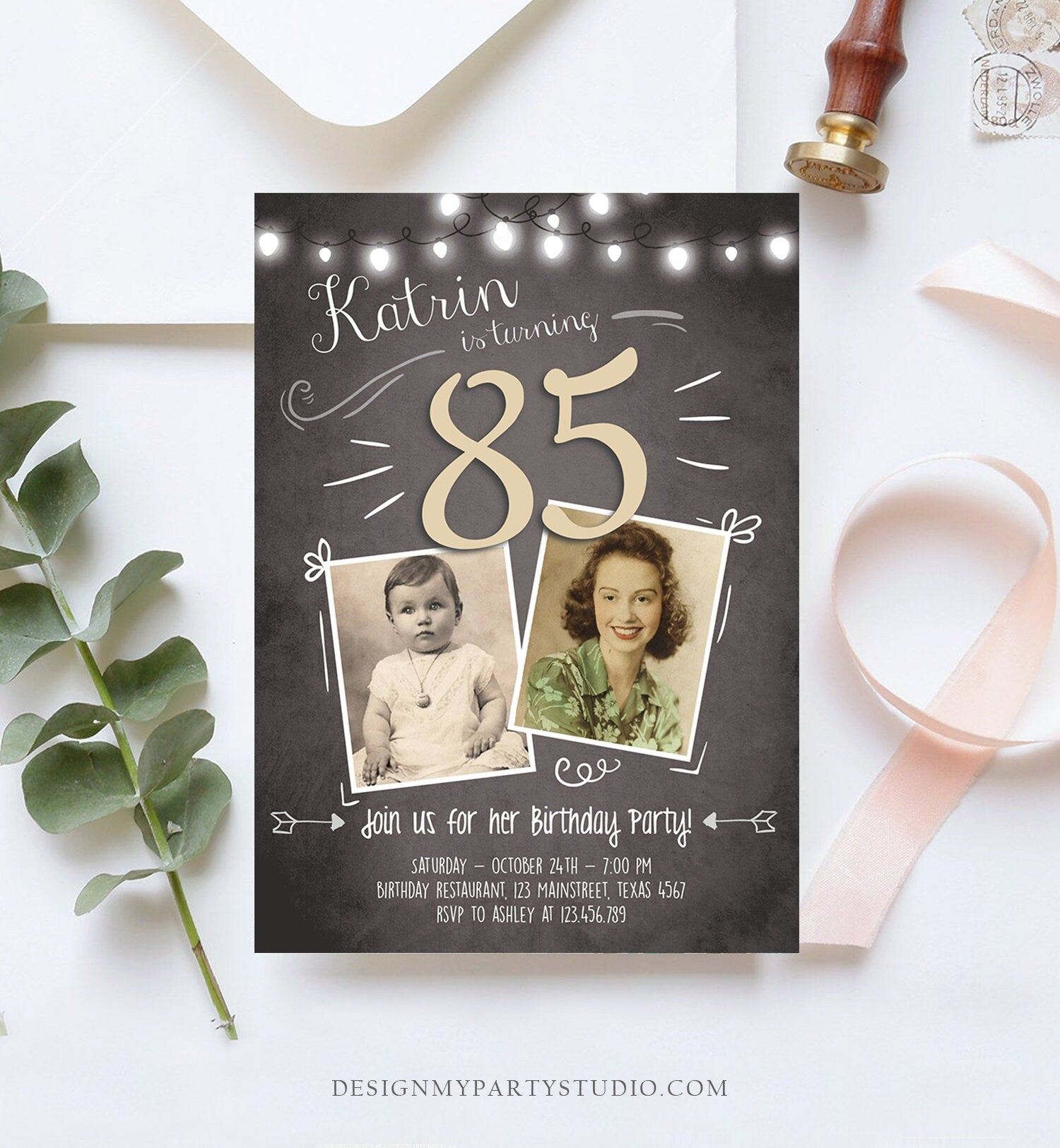 Editable 85th Birthday Invitation ANY AGE Chalkboard Rustic Adult Eighty Five Photo Vintage Fifth Jubilee Anniversary Corjl Template 0230