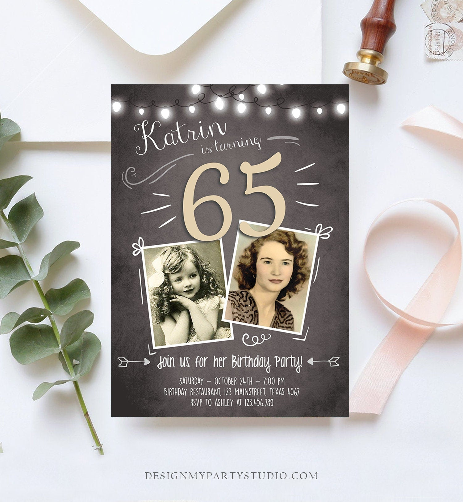 Editable 65th Birthday Invitation ANY AGE Chalkboard Rustic Adult Sixty Fifth Photo Vintage Sapphire Jubilee Anniversary Corjl Template 0230