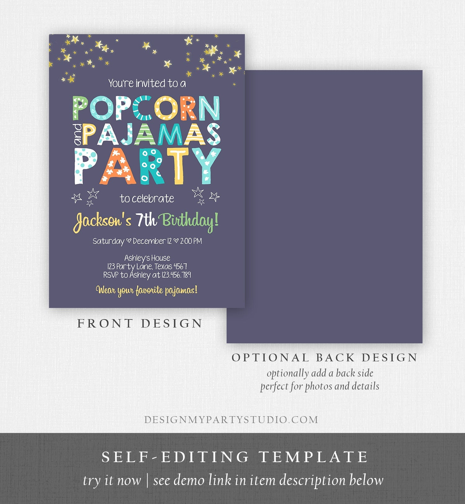 Printable Movie Night Invitation You Edit You Print Digital Pdf Jpg In Corjl Greeting Cards Invitations Greeting Cards Party Supply