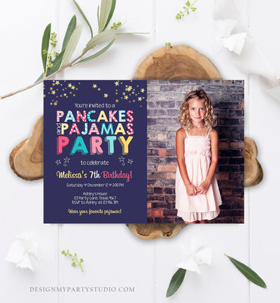 Editable Pancakes and Pajamas Birthday Invitation Movie Night Pancake Party Girl Pink Purple Green Stars Corjl Template Printable 0218