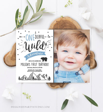 Editable A Onederful Wild Adventure First Birthday Invitation Wild Things Boy Mountains Bear Outdoor 1st Blue Photo Corjl Template 0083
