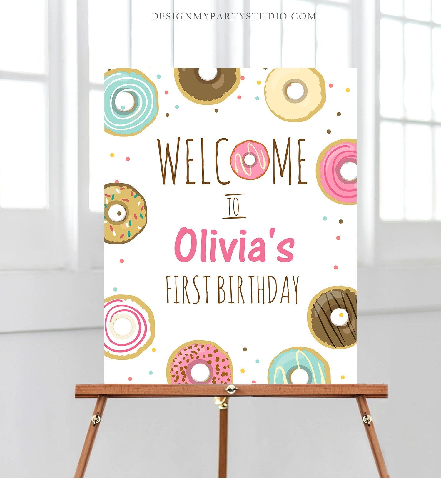 Editable Donut Welcome Sign Donut Birthday Party Pink Girl Doughnut Baby Shower Sprinkle Table Sign Download Corjl Template Printable 0050