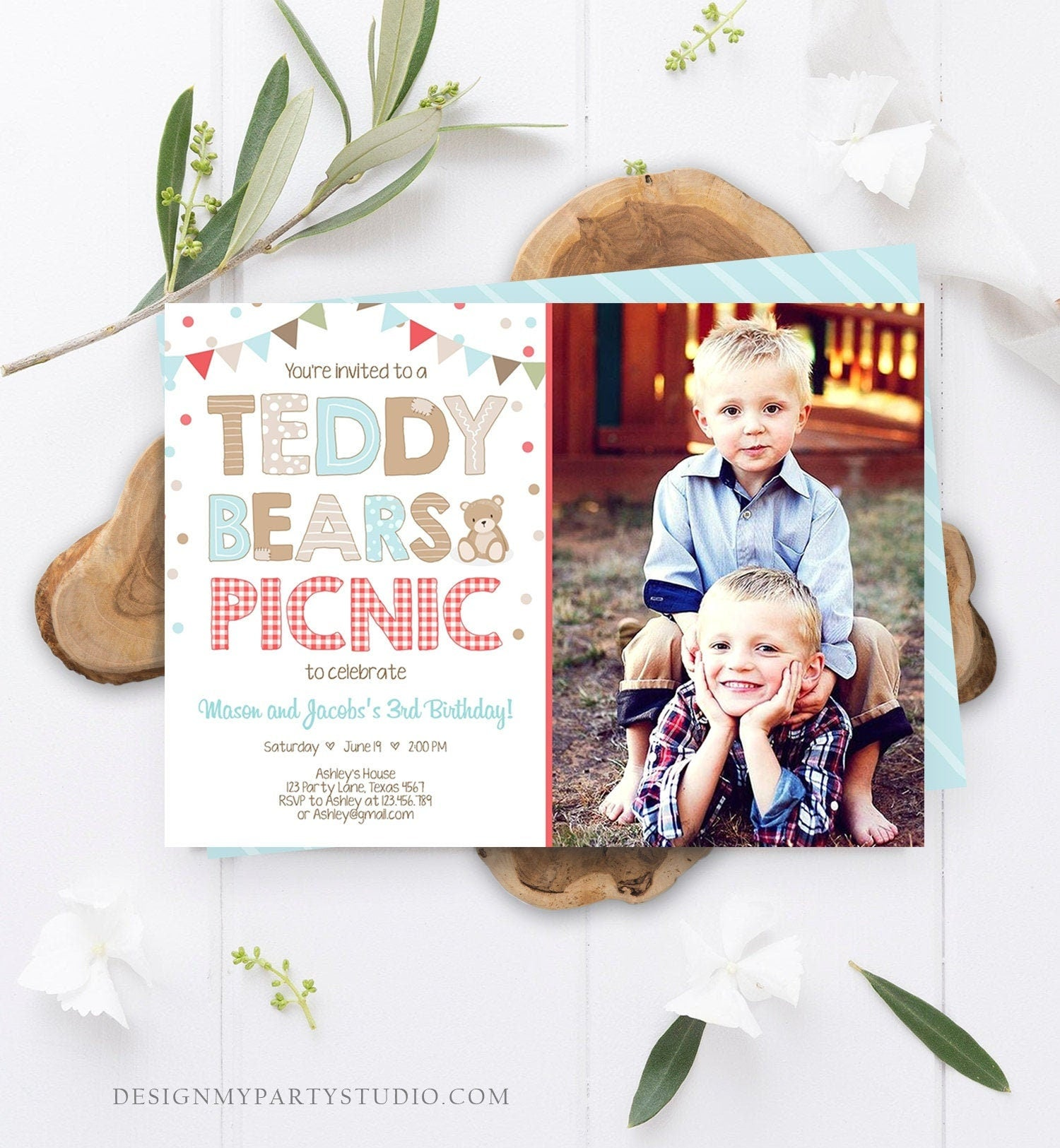 Editable Teddy Bear Picnic Birthday Invitation Boys Siblings Birthday Brothers Twins Joint Party Printable Invitation Template Corjl 0100