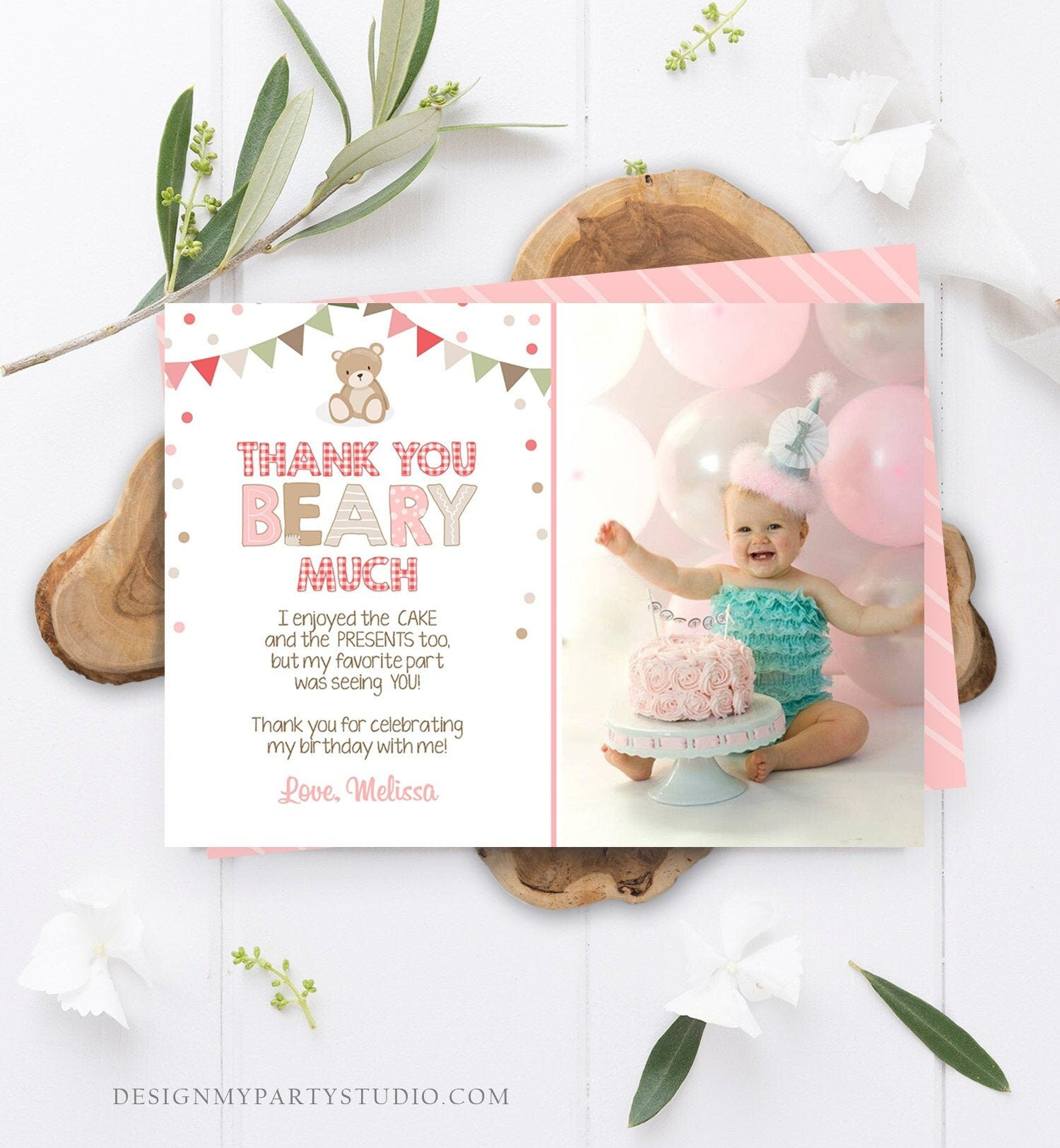 Teddy Bear Thank You Card Birthday Picnic Beary Much Girl Pink Confetti Download Printable Thank You Template Editable Digital Corjl 0100