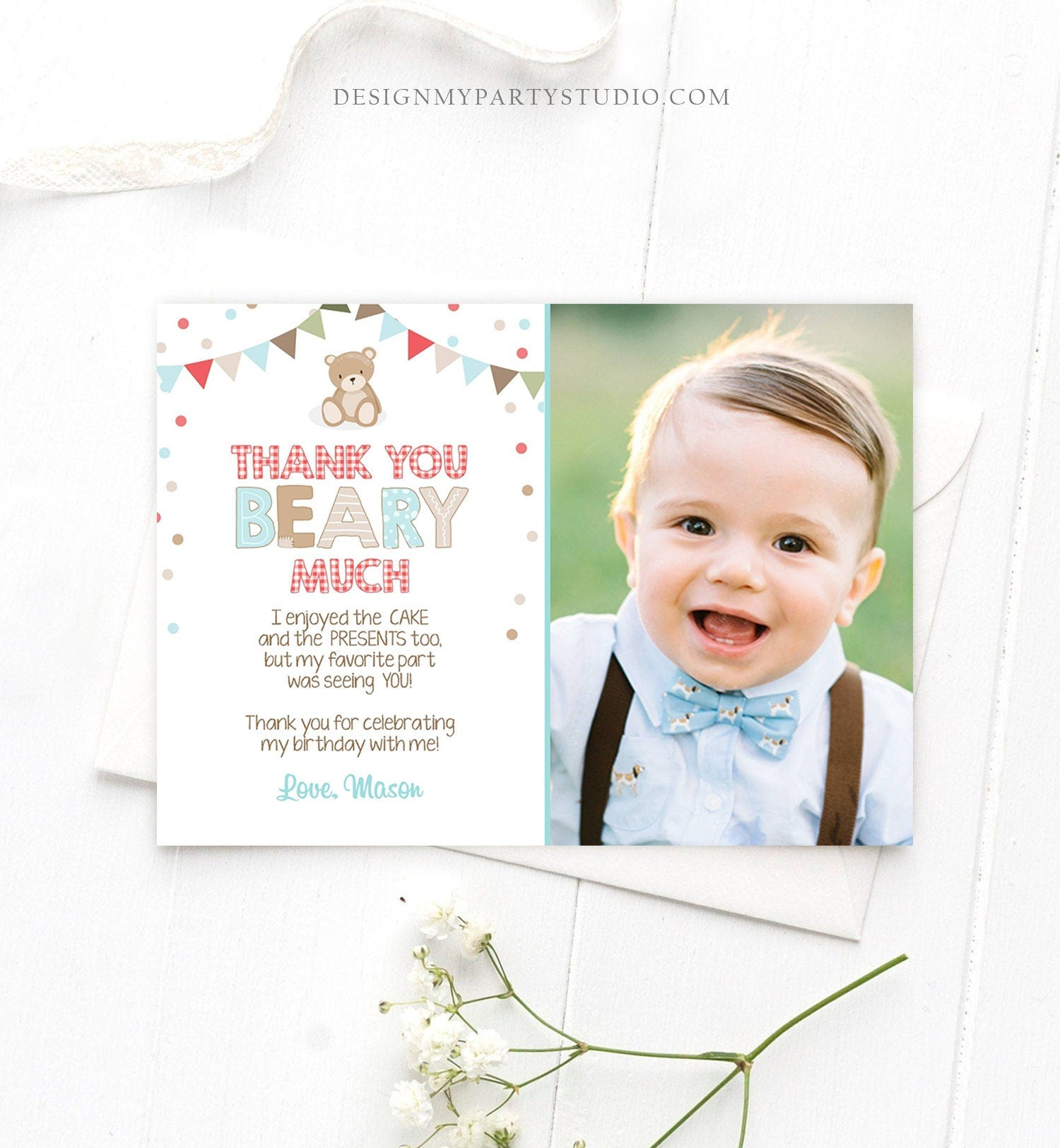 Editable Thank You Card Teddy Bear Birthday Picnic Beary Much Boy Blue Woodland Download Printable Thank You Template Digital Corjl 0100