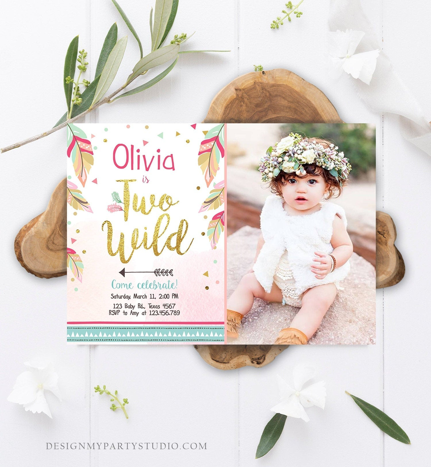 Editable Two Wild Birthday Invitation Girl 2nd Birthday Tribal Boho Feathers Pink Gold Mint Download Printable Template Digital Corjl 0038