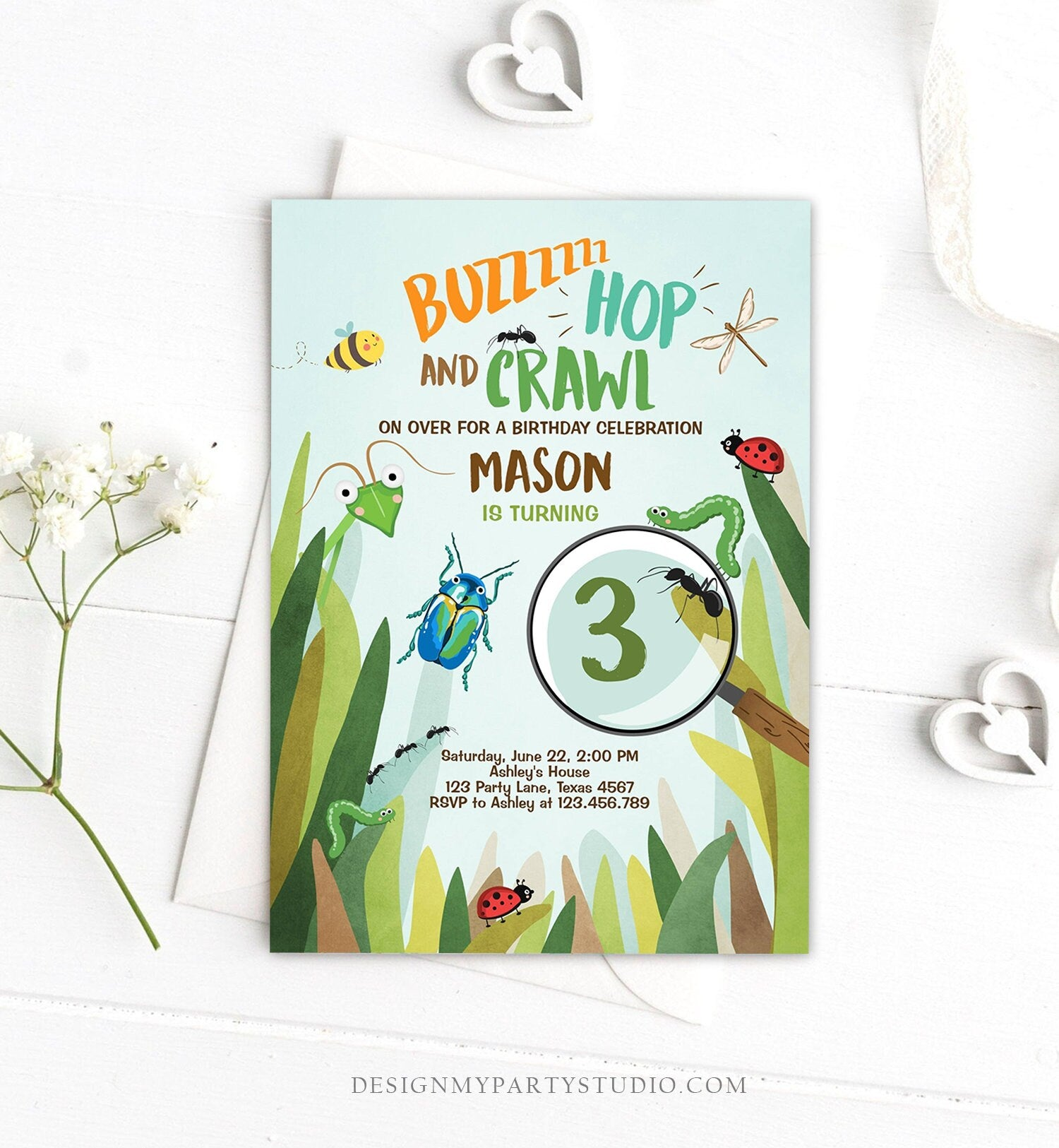 Editable Bug Birthday Invitation Insect Party Bugging Outdoor bug Hunt Bugs Boy Download Printable Invitation Template Digital Corjl 0090