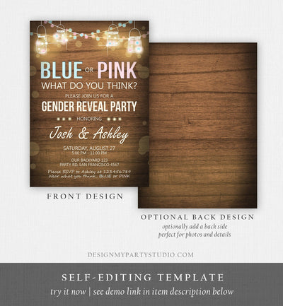 Editable Gender Reveal Invitation Baby Shower Boy or Girl Pink or Blue He She Wood Rustic Template Instant Download Digital Corjl 0015