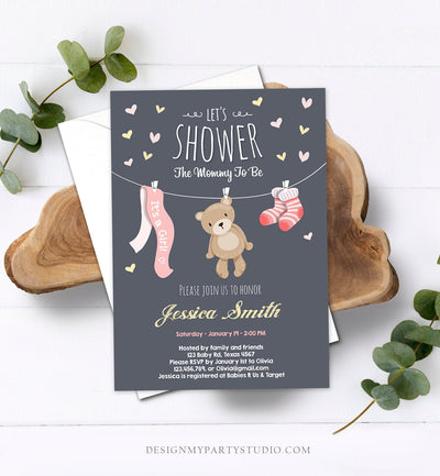 Editable Baby Shower Invitation Girl Pink Teddy Bear Cute Bear Little Cub Clothes Invitation Woodland Template Instant Download Corjl 0025