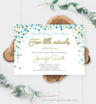 Editable Twin Baby Shower Invitation Boys Twin Boys Baby Blue and Gold Glitter Confetti Boy Baby Shower Invite Template Download Corjl 0133