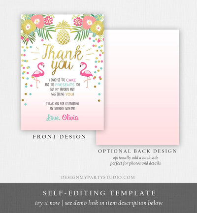 Editable Tropical Aloha Thank You Card Flamingo Birthday Luau Party Leaves Pink Gold Confetti Digital Download Corjl Template Printable 0200