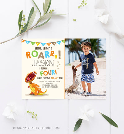 Editable Dinosaur Birthday Invitation Boy T-Rex Dino Party Stomp Chomp Growl Roar Party Like a Dinosaur Prehistoric Corjl Template 0301