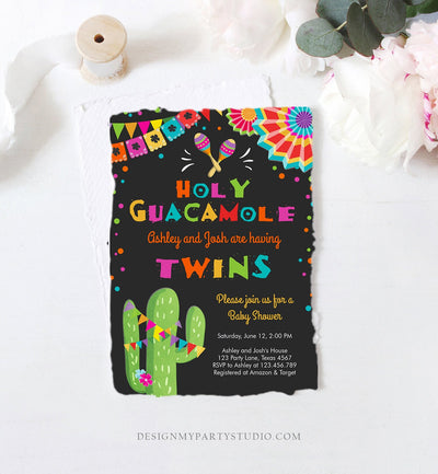 Editable Holy Guacamole Fiesta Baby Shower Invitation Cactus Mexican Succulent Little Señor Senorita on the Way Twins Corjl Template 0045