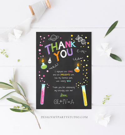 Editable Science Experiment Thank You Card Birthday Girl Party Mad Scientist Lab Slime Party Professor Digital Corjl Template Printable 0094