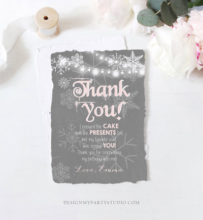 Editable Winter Onederland Thank You Card First Birthday Winter Thank You Note Pink Grey Girl Snowflake 1st Corjl Template Printable 0027