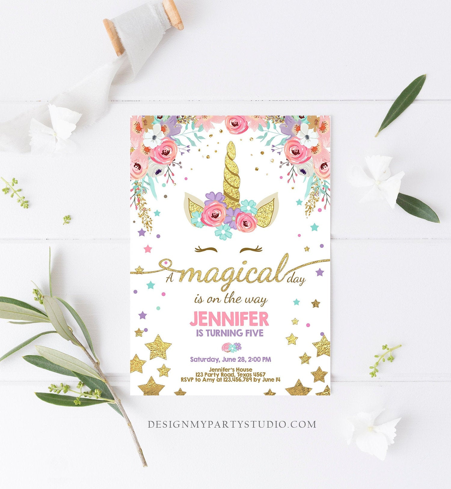 Editable Magical Unicorn Birthday Invitation Magical Day Rainbow Pastel Pink Girl Gold Stars Floral Download Corjl Template Printable 0041