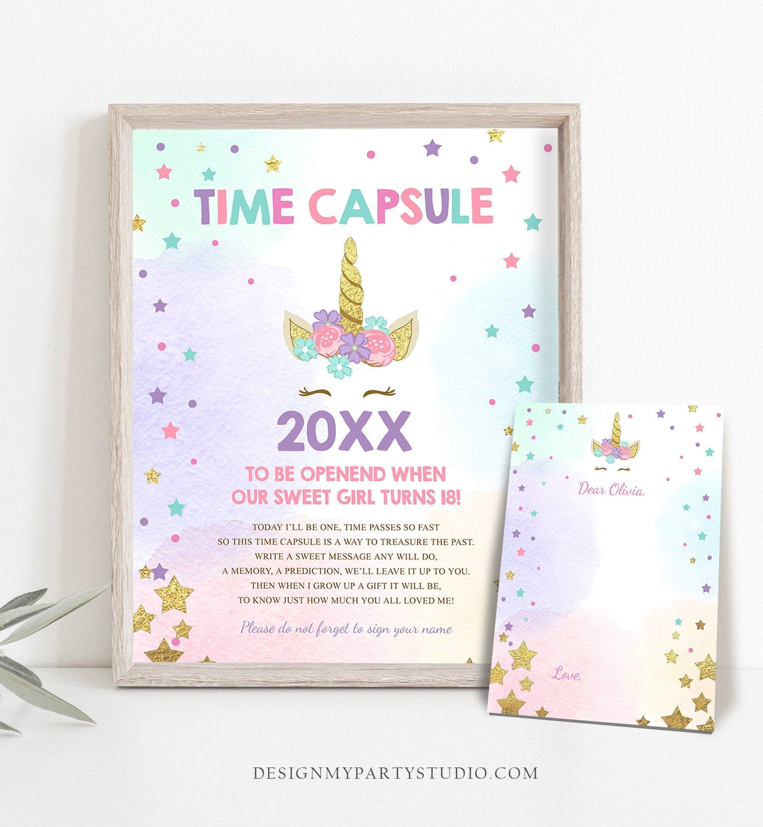 Editable Unicorn Time Capsule Birthday Rainbow Magical Celebration Pink Gold Instant Download Printable Corjl Template Digital Editable 0041