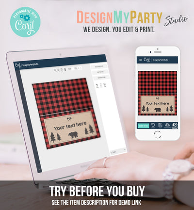 Editable Food Labels Lumberjack Birthday Wild One Buffalo Plaid Place Card Tent Card Escort Card Bear Woodland Rustic Template Corjl 0026