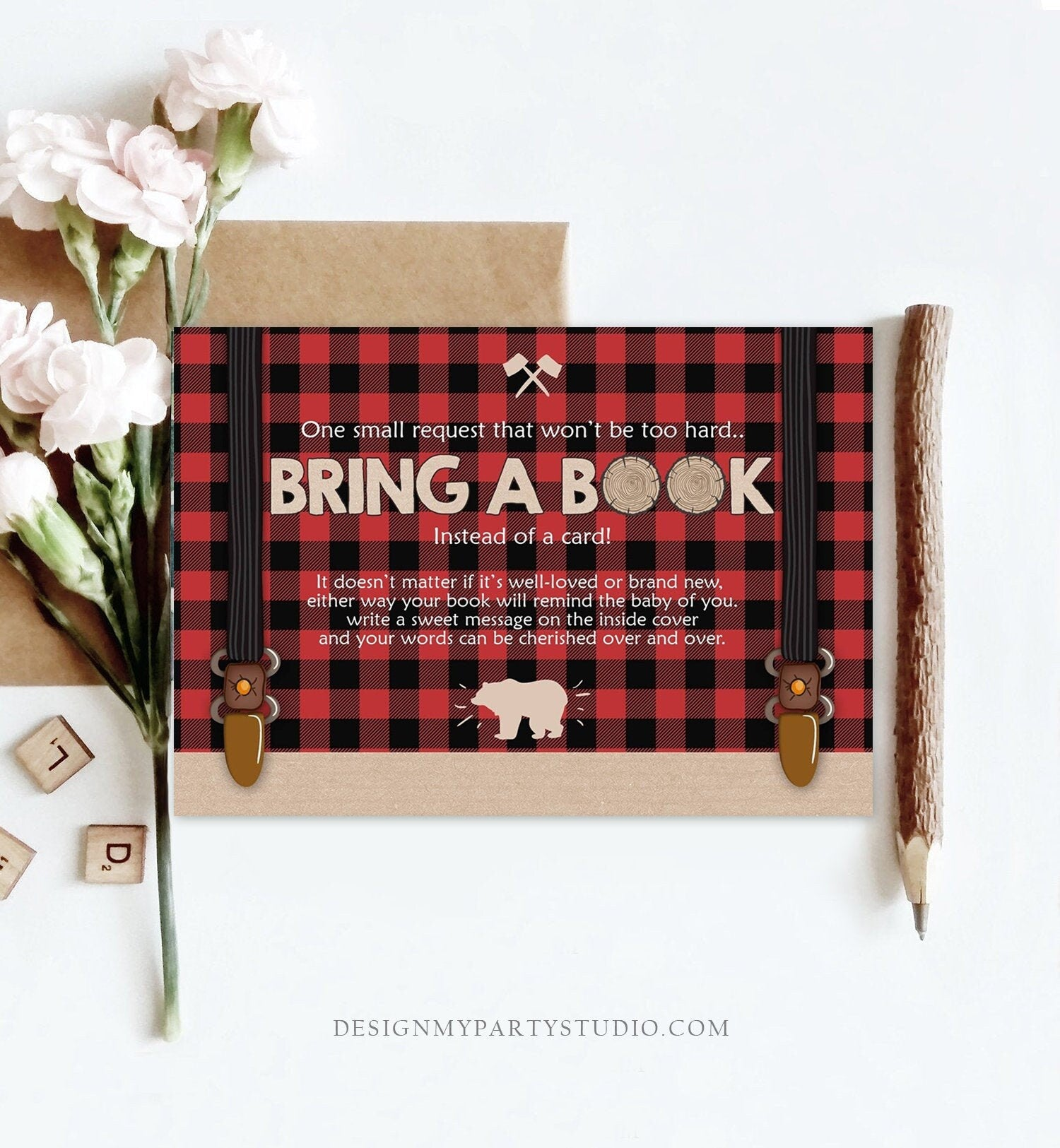 Editable Bring a Book Card Lumberjack Baby Shower Buffalo Plaid Book Insert Books for Baby Book Request Bear Template PRINTABLE Corjl 0026