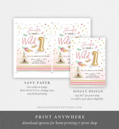 Editable Wild One Birthday Invitation Girl First Birthday Boho Feathers Pink Mint Teepee Download Printable Template Digital Corjl 0073