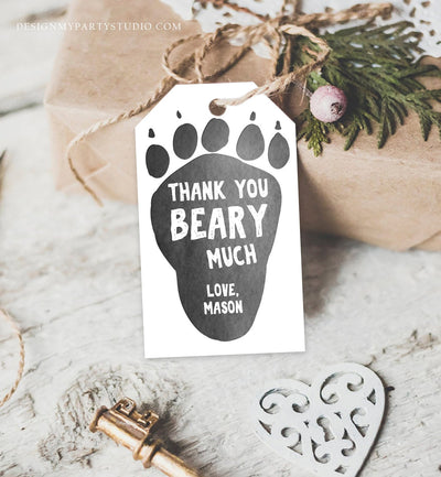 Editable Bear Paw Tags Lumberjack Favor Tags Thank you Beary Much Label Woodland Birthday Bear Cub Tags Template PRINTABLE Corjl 0026