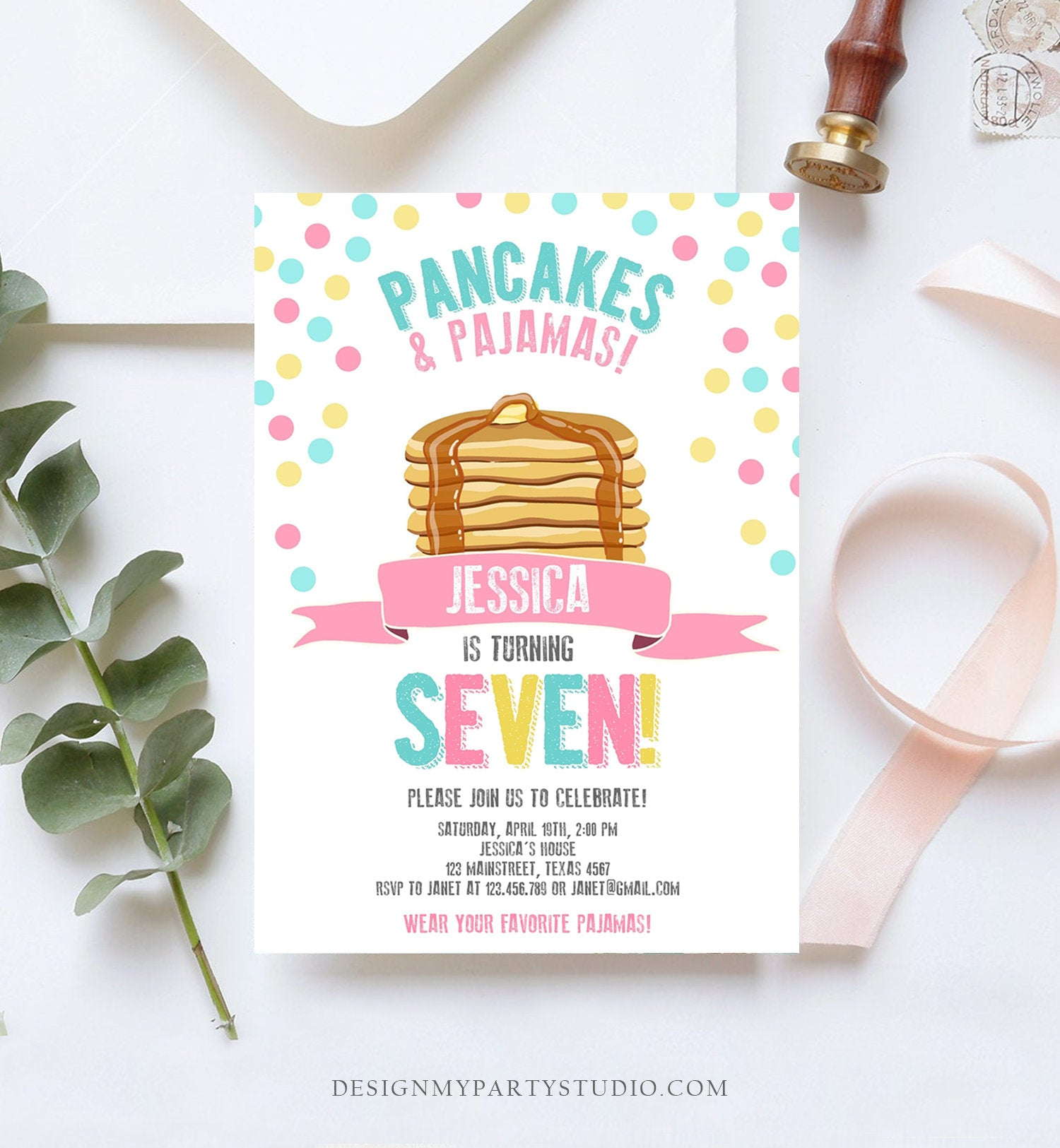 Editable Pancakes and Pajamas Invitation Pancake Pajamas Birthday Party Girl Pink Slumber Party Printable Template Corjl Digital 0286