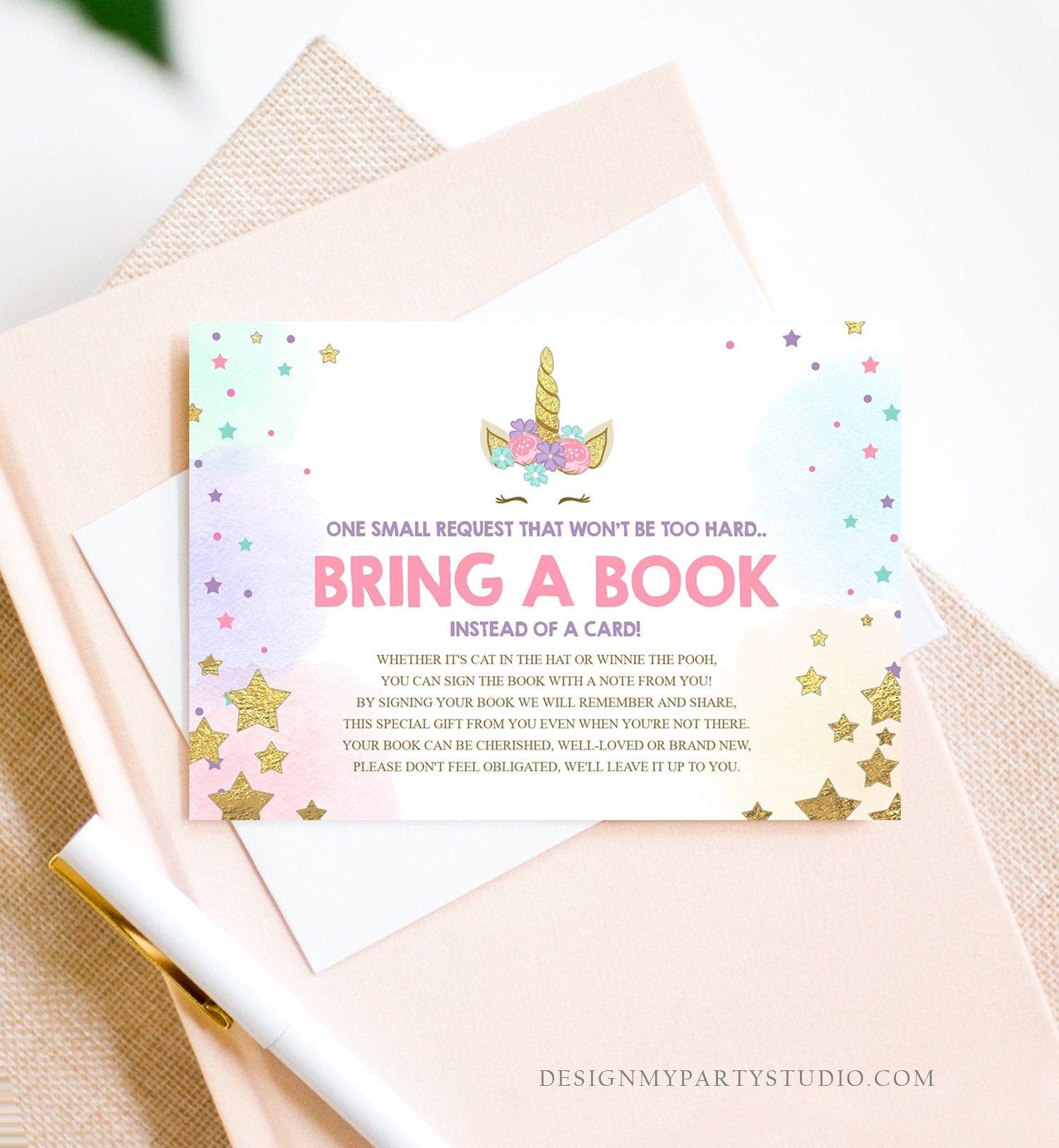Unicorn Bring a Book Card Baby Shower Book Insert Books for Baby Book Request Sprinkle Download Editable Book Card Template PRINTABLE 0041