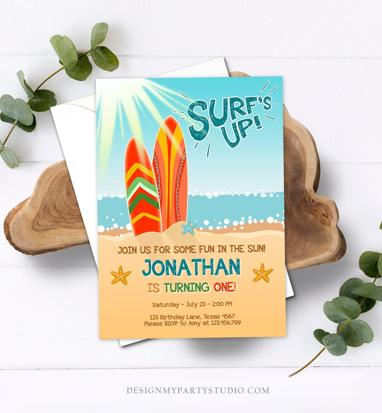 Editable Surf Birthday invitation Summer Beach Party Surfboard Boy Surf Party Instant Download Printable Invitation Template Corjl 0241