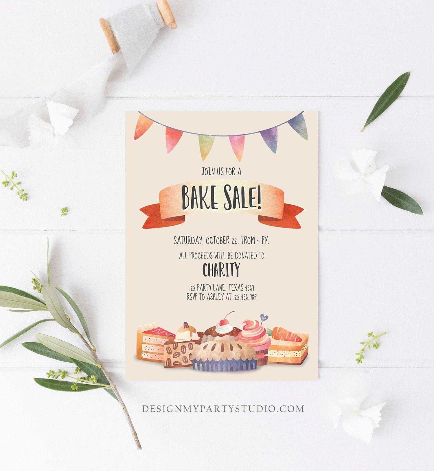 Editable Bake Sale Party Festival Invitation Fundraiser School Church Flyer Kitchen Cake Cookie Download Corjl Template Printable 0258