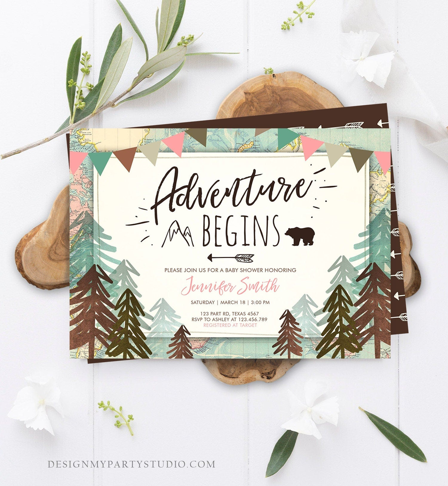 Editable Adventure Begins Baby Shower Invitation Forest Woodland Vintage Pink Travel Around the World Awaits Corjl Template Printable 0044
