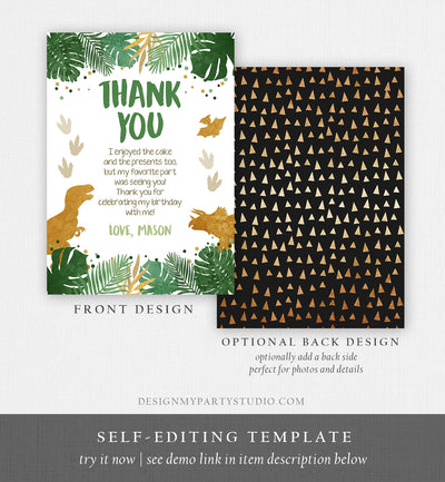 Editable Dinosaur Thank You Card Birthday Boy Black Green Gold Dino Party T-Rex Photo Download Printable Corjl Template Digital 0146