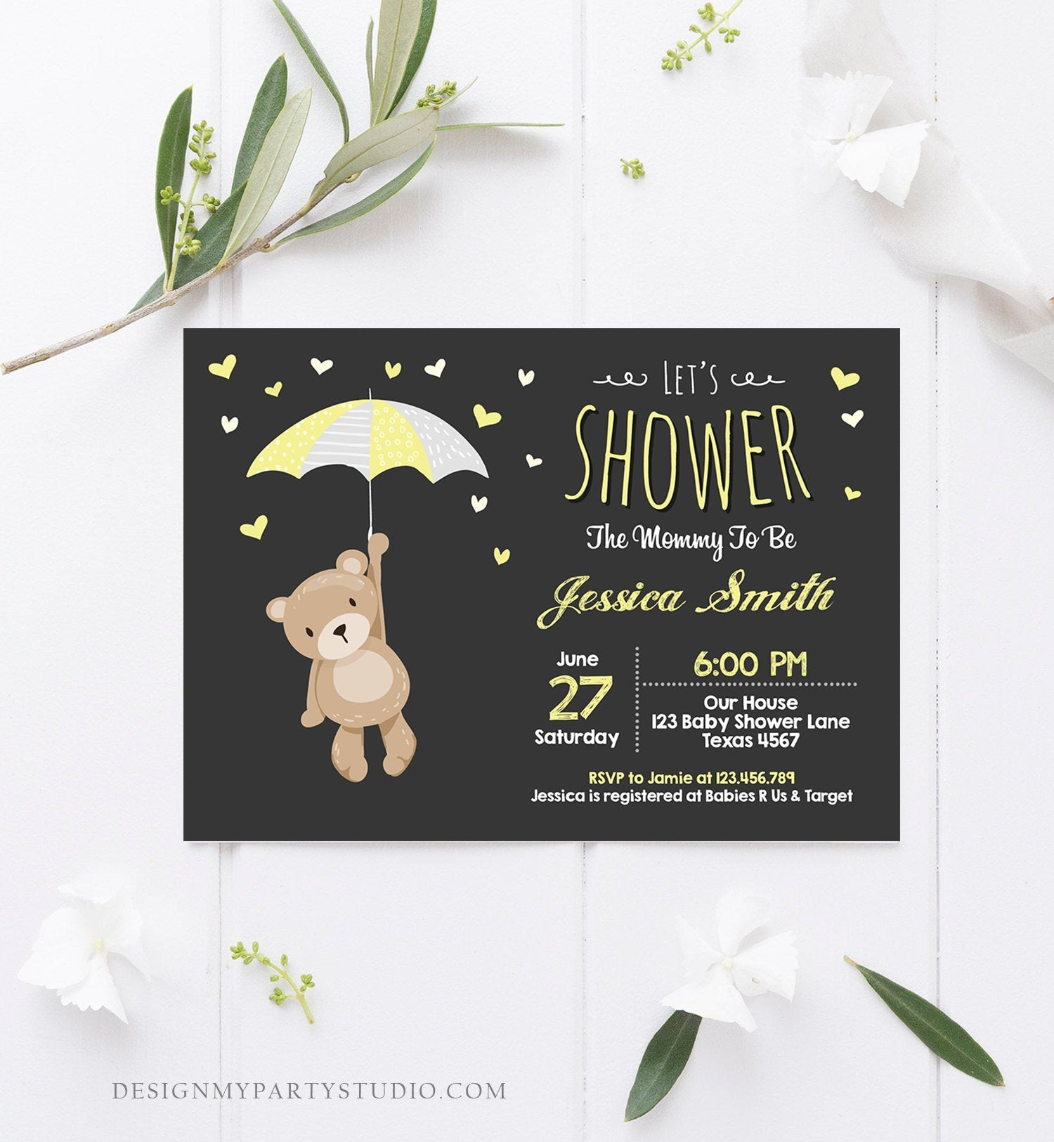 Editable Baby Shower Invitation Teddy Bear Cute Gender Neutral Bear Little Cub Woodland Invitation Template Instant Download Corjl 0025