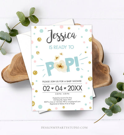Editable Ready to Pop Baby Shower Invitation Sprinkle Popcorn Blue Boy Pop Balloon Instant Download Printable Template Digital Corjl 0211