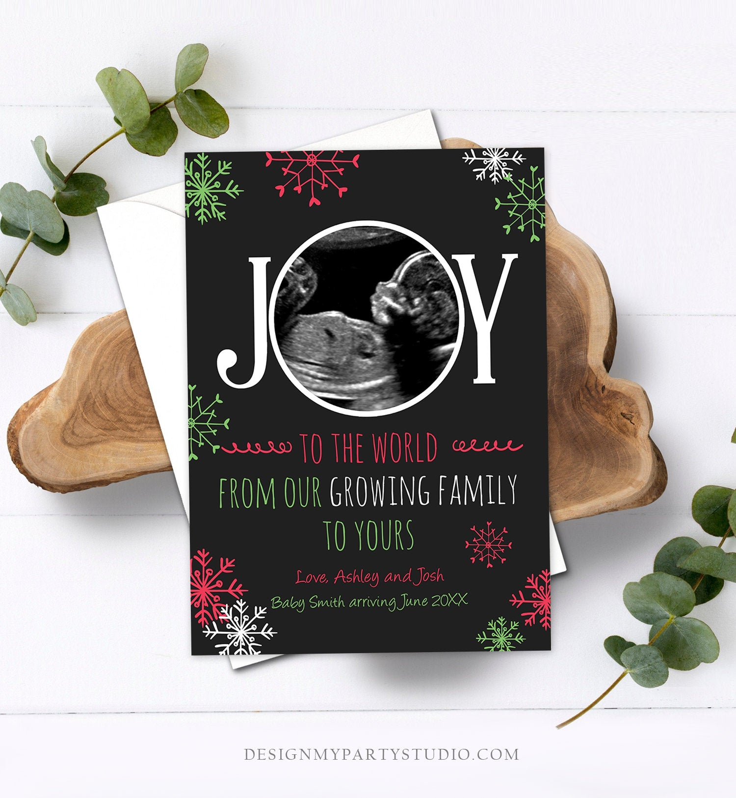 Editable Christmas Pregnancy Announcement Grandparents Joy Family Pregnancy Reveal Photo Ultrasound Printable Invitation Template Corjl
