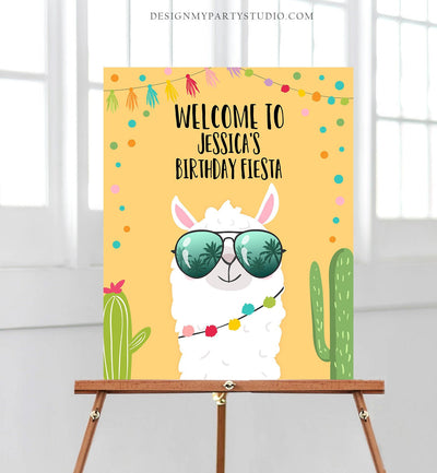 Editable Llama Welcome Sign Sunglasses Birthday Party Whole Llama Alpaca Poster Yellow Neutral Mexican Fiesta Shower Corjl Template 0079