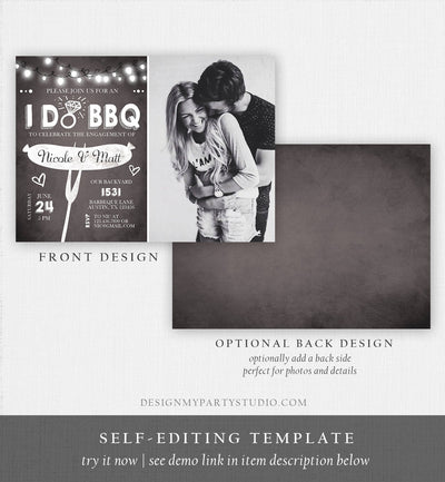Editable I Do BBQ Engagement Party Invitation Couples Chalk String Lights Ring Barbecue Outdoor Bridal Shower Printable Corjl Template 0145