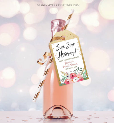 Editable Sip Sip Hooray Bridal Shower Thank You Tags Mini Wine Champagne Bottle Favor Wedding Pink Floral Gold Confetti Corjl Template 0059