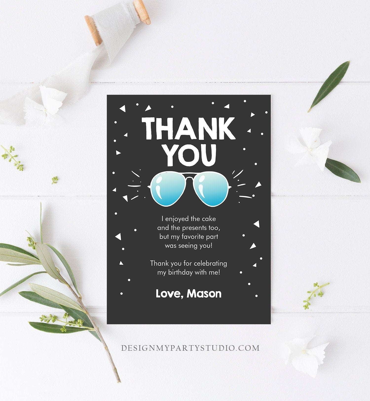 Editable Thank You Card Two Cool Birthday Boy Pilot Sunglasses Second Birthday Party Note 2nd White Photo Corjl Template Printable 0136
