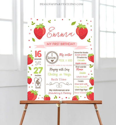 Editable Birthday Milestones Sign Strawberry First Birthday Girl Pink Red Strawberry Decor Summer Download Template Printable Corjl 0091
