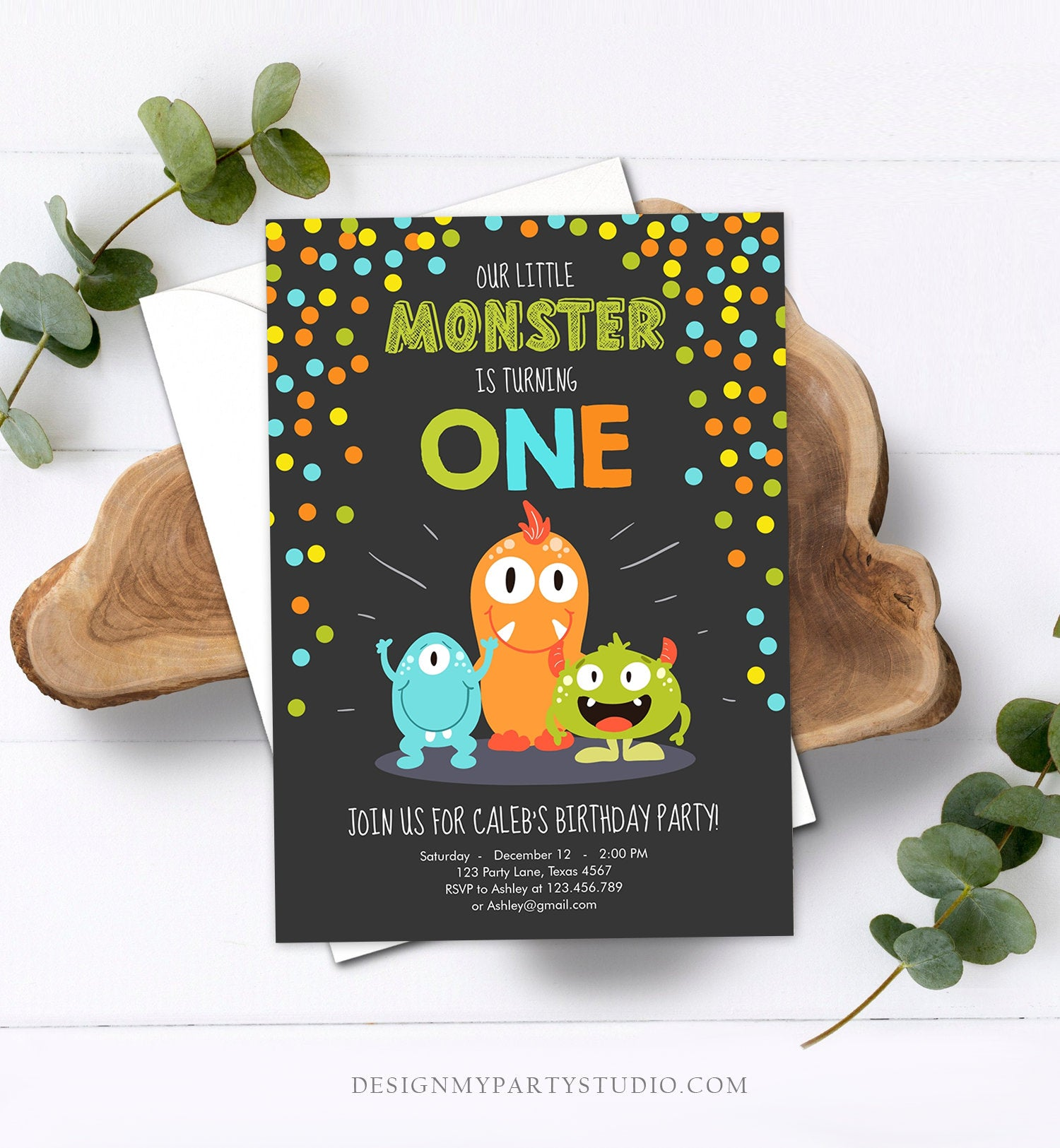 Editable Little Monster Birthday Invitation First Birthday Party Monsters Boy Confetti 1st Orange Blue Chalk Printable Corjl Template 0058