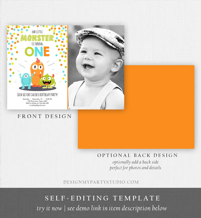 Editable Little Monster Birthday Invitation First Birthday Party Monsters Boy Confetti 1st Orange Blue Photo Printable Corjl Template 0058