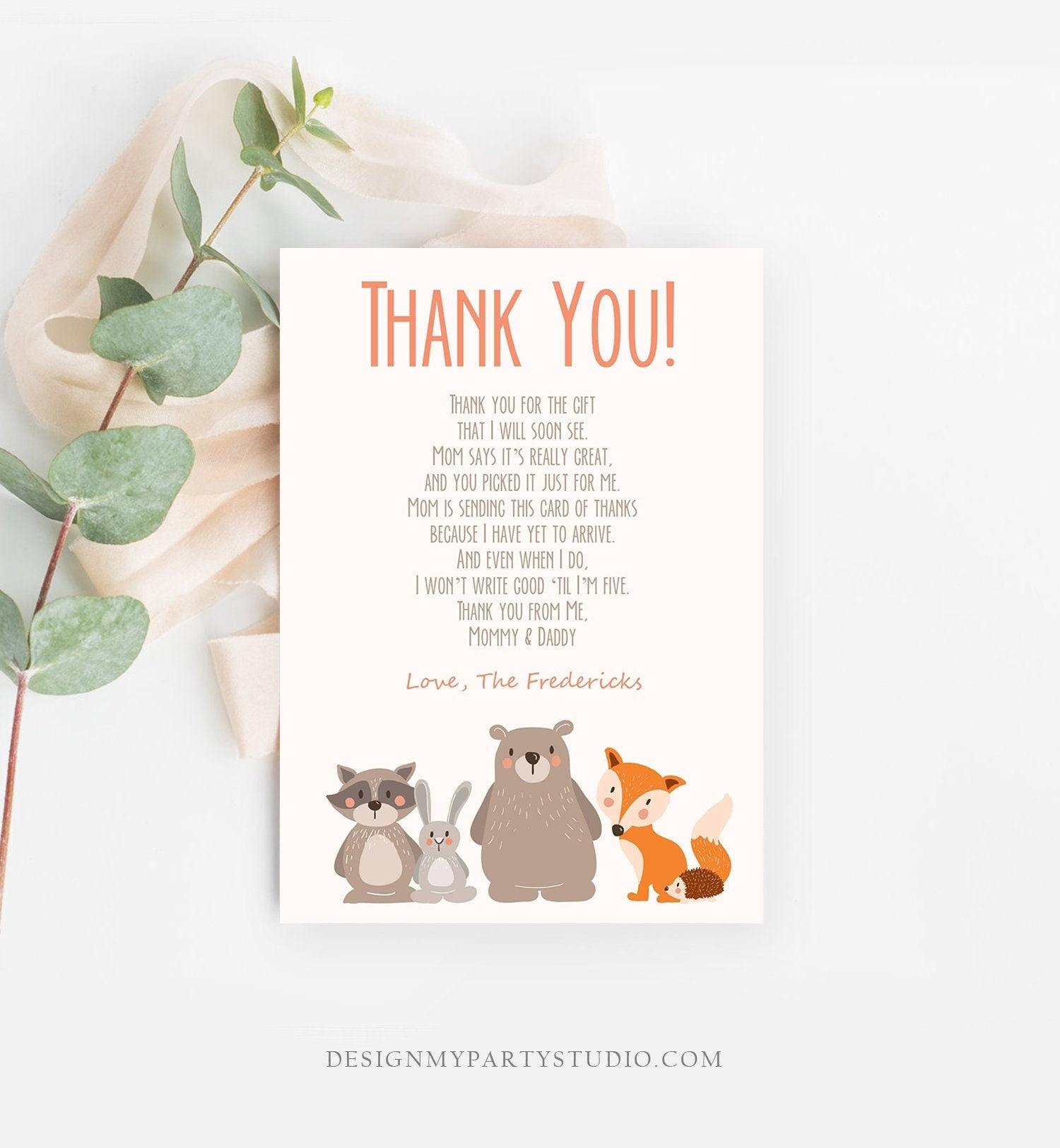 Editable Baby shower Thank you note Woodland Thank You Rustic Cute Animals Forest Gender Neutral Template Instant Download Corjl 0010
