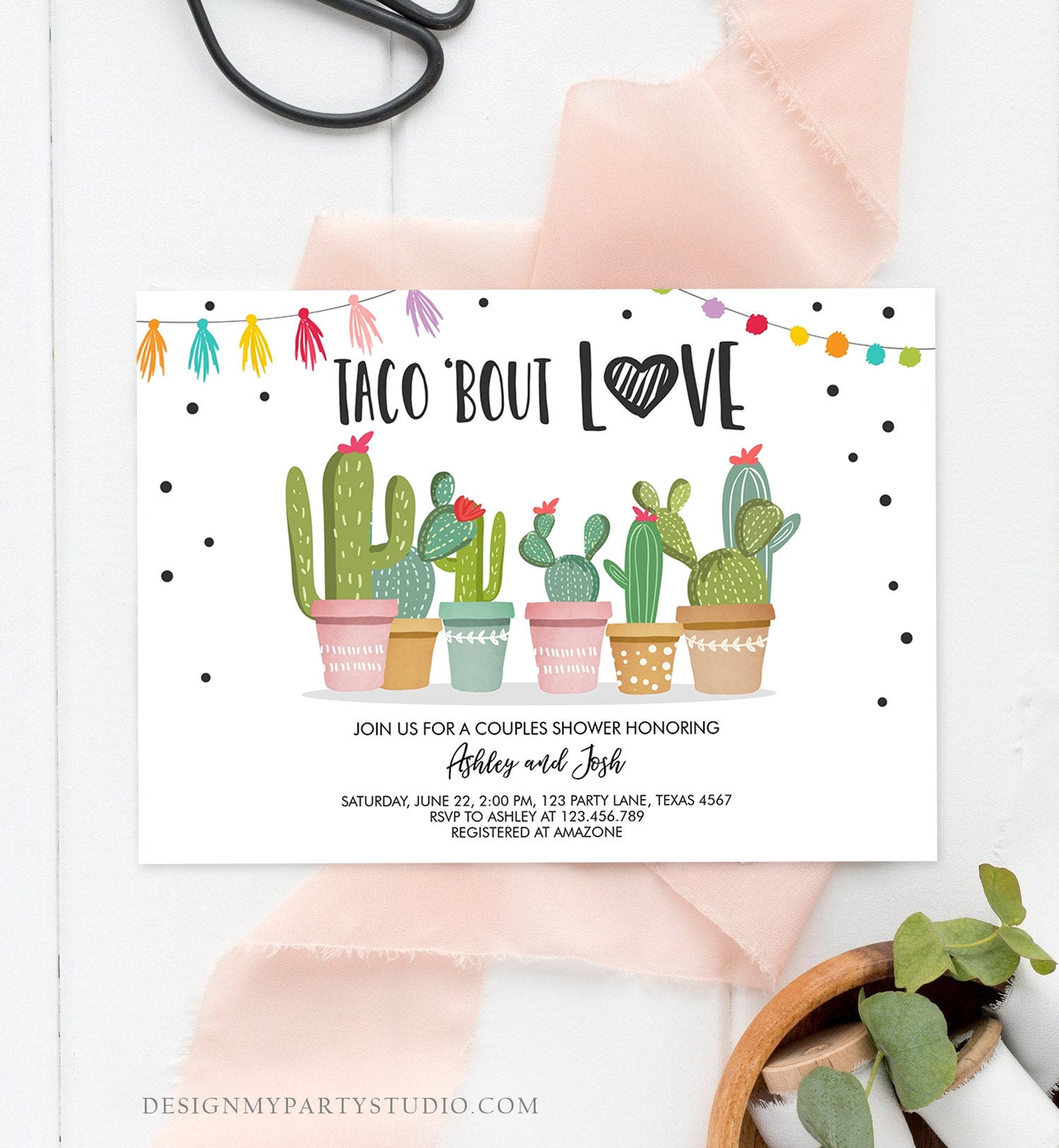 Editable Taco Bout Love Couples Shower Invitation Fiesta Cactus Succulent Mexican Green Pink Digital Download Corjl Template Printable 0254