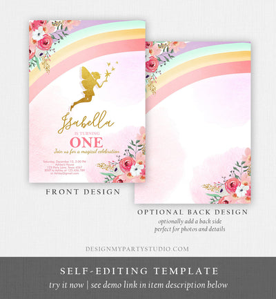 Editable Fairy Birthday invitation Rainbow Fairy Invite Fairy Party Girl Pink Gold Floral Download Printable Invitation Template Corjl 0208