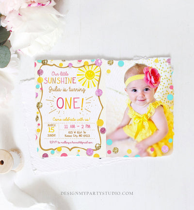 Editable Little Sunshine Birthday Invitation You are My Sunshine Lemonade Girl First Birthday Pink Gold 1st Corjl Template Printable 0097