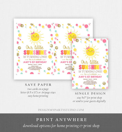 Editable Little Sunshine Birthday Invitation You are My Sunshine Lemonade Girl First Birthday Pink Gold 1st Corjl Template Printable 0244