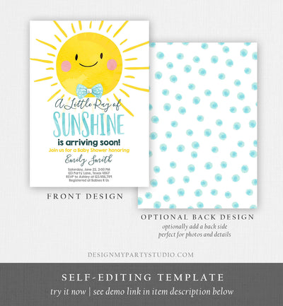 Editable Baby Shower Invitation A Ray of Sunshine Little Sunshine Blue Yellow Boy Invite Template Instant Download Digital Corjl 0141