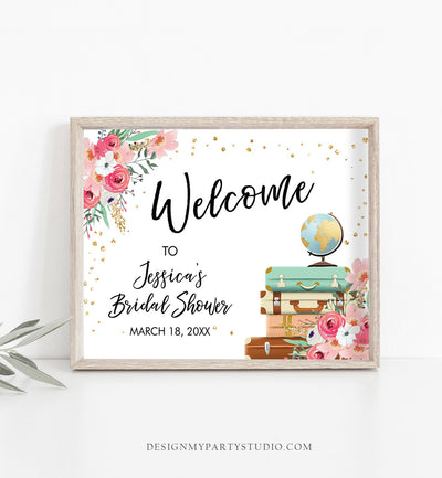Editable Travel Welcome Sign Bridal Shower Traveling From Miss to Mrs Adventure Love is a Journey Floral Pink Download Corjl Template 0030